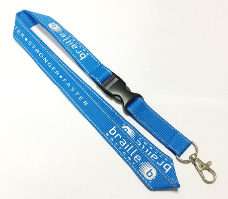 China Polyester Blue Reflective Personalised Lanyards White Logo Safety Buckle Metal Hookon sales