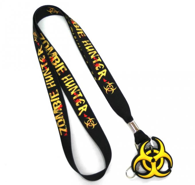 Swivel J-Hook Black Dye Sublimation Lanyards Customised With PVC Rubber Hanger