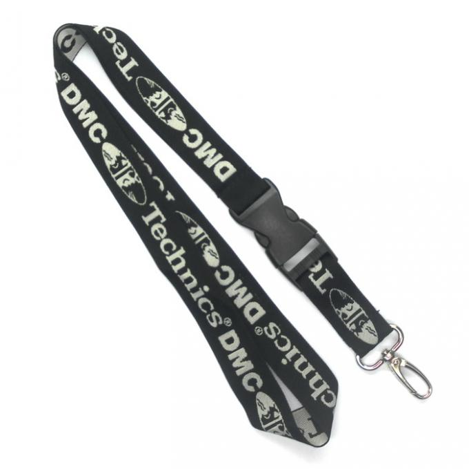 1 Color Cool Gray Custom Woven Lanyards 3C With Egg Hook / Plastic Buckle