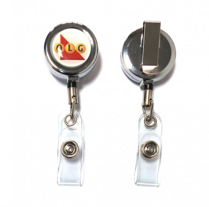 Round Retractable Metal Badge Reel Personalized Environmental Protection