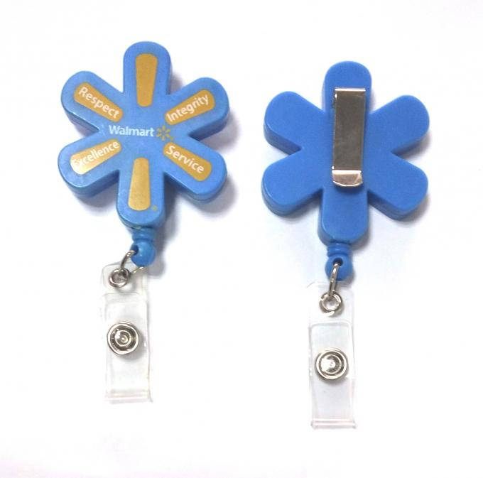 Plastic Pull Durable Retractable Key Reels Eco-Friendly Flower Shaped