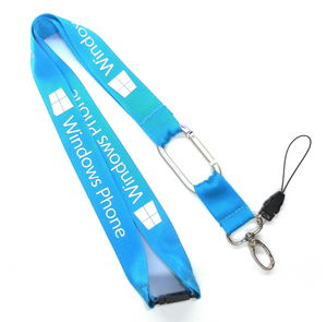 NL-6 Durable Blue Nylon Mobile Phone Neck Strap Lanyards With Carabiner Hook