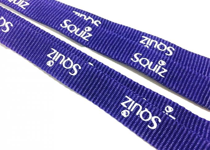 Durable Purple Custom Polyester Lanyards Double J Hooks White Print For ID Card