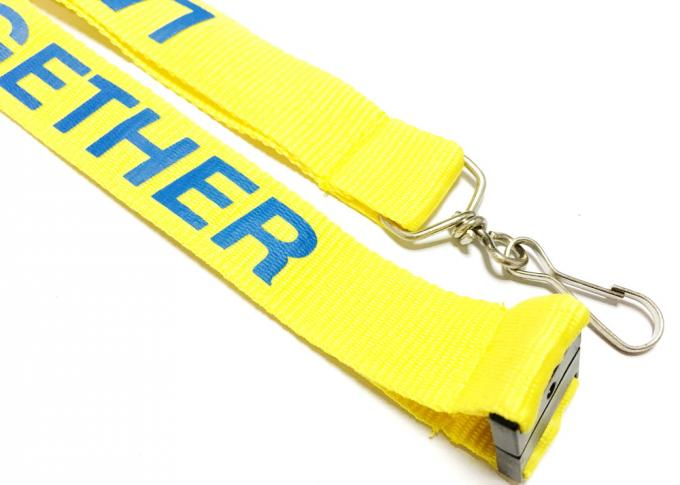 Yellow Background Safety Neck Lanyards , Custom Printed Lanyards For Running Event Competition
