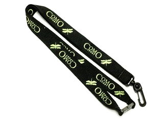 Black J Hook Dye Sublimation Lanyards 10mm Wide For Camping Trade Show Exhibition Event