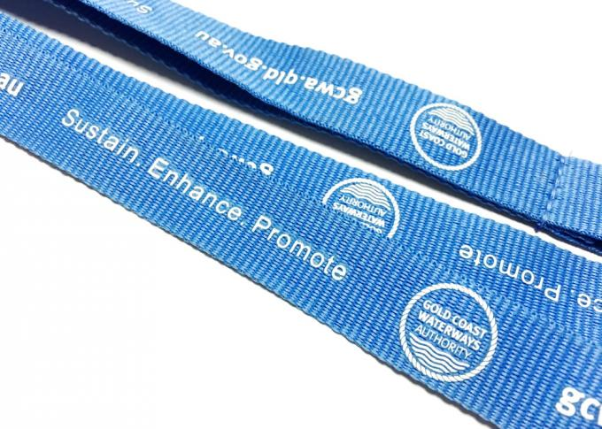 Blue Metal Hook Custom Polyester Lanyards Trade Export Environmental Protection