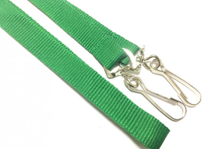 Blank Double J Hooks Custom Printed Lanyards 15mm Wide For Staff ID Card Green Background