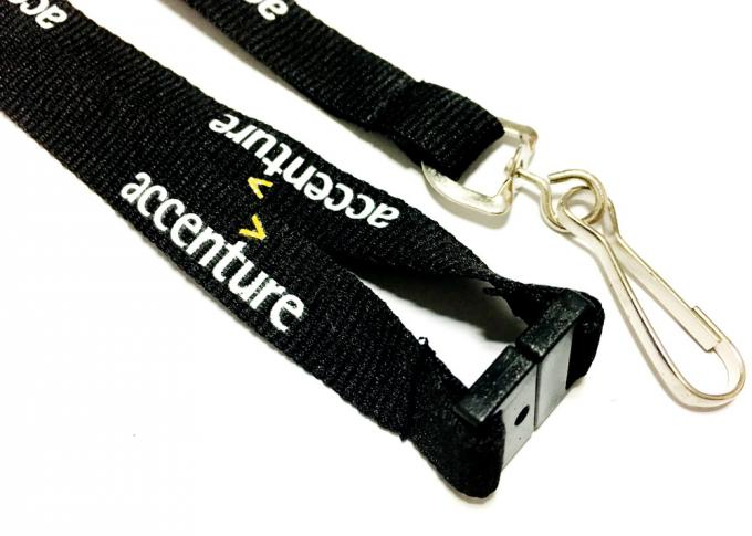 Swivel Hook Black Personalised Neck Strap , Neck Key Strap With Silk Screen Printing